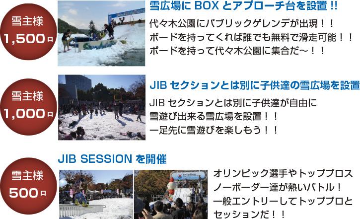 雪主様1,500口 代々木公園にパブリックゲレンデが出現!! ボードを持ってくれば誰でも無料で滑走可能!! ボードを持って代々木公園に集合だ〜!!雪広場にBOXとアプローチ台を設置!!  雪主様1,000口 JIBセクションとは別に子供達の雪広場を設置 JIBセクションとは別に子供達が自由に 雪遊び出来る雪広場を設置!! 一足先に雪遊びを楽しもう!!  雪主様500口 JIB SESSIONを開催 オリンピック選手やトッププロスノーボーダー達が熱いバトル! 一般エントリーしてトッププロとセッションだ!!